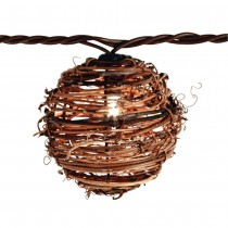 Clear Natural Rattan Ball String Light Set