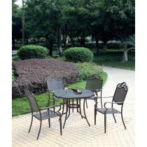 Coffee Brown Aluminum Umbrella Hole Table and Chair Set