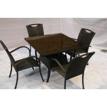 Coffee Brown Garden PE Rattan Chair & Table