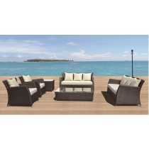 Coffee Brown Modern PE Rattan Sofa Set