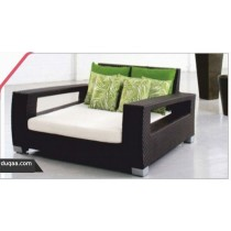 Coffee Rattan Lining Design Pool Side Lounge With Cushion