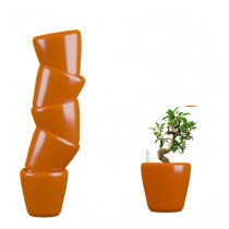 Combo of 6 Orange Round Self Watering Planter