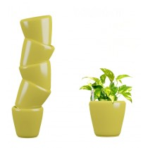 Combo of 6 Yellow Round Self Watering Planter