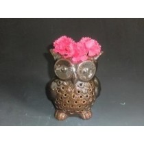 Copper Color Ceramic Owl Shape Oil Burner