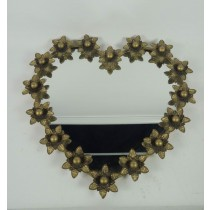 Copper Finish Metal Heart Beaded Wall Mirror