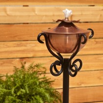 Copper Garden Torch With Scroll Yard Stake - 1
