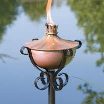 Copper Garden Torch With Stylish Yard Stake