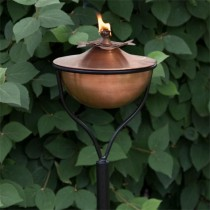 Copper Garden Torch With Traditional Yard Stake