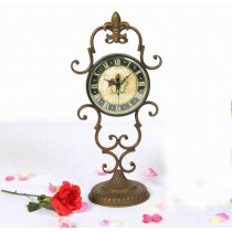 Copper Metal Curved Stand Table Top Clock