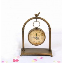 Copper Metal Semi Round Shape Desk Clock