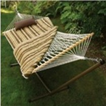 Cotton Rope Hammock With Stand, Pad & Pillow
