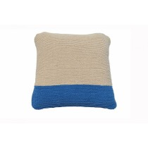 Cream & Blue Hand Knitted Cushion Cover