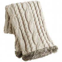 Cream Cable Knit Faux Fur Trimmed Throw