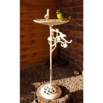 Cream Finish Cast Iron Elegant Design Bird Bath