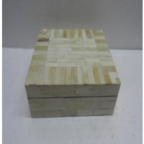 Cream Finish Wooden and Bone Jewellery Box 18X13X7