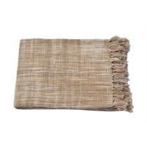 Cream Fringes Border Throw