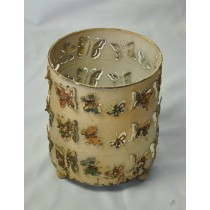 Cream  Metal Laser Cut Butterfly Candle Holder