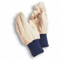 Cream With Blue Border Garden Canvas Gloves