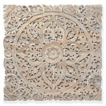 Cream Wooden Decorative Floral Wall Panel (90 x 90 cm)