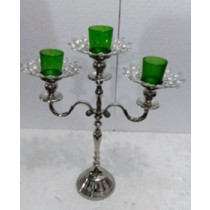 Crystal 3 Arm Green Glass Votive Candelabras