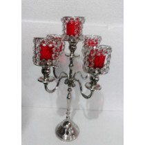 Crystal 5 Arm Red Glass Votive Candelabras