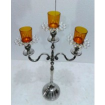 Crystal Bead 3 Arm Yellow Glass Votive Candle Stand