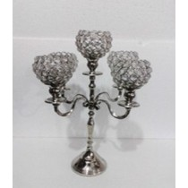 Crystal Bead 5 Arm T-Light Candle Stand(28 X 28 X 48 CM)