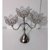 Crystal Lotus Shape 3 Arm T-Light Candle Stand(34 X 10 X 32 Cm)