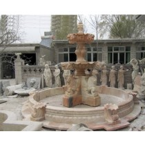Curved Natural Red Marble Lion Head Fountain