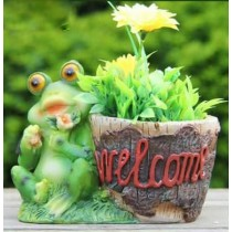 Welcome Sign Polyresin Planter With Frog