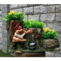 Cute Gnome With Staircase Three Flower Pot