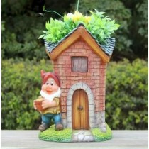Cute Gnome With Tall House Garden Planter