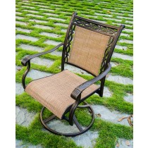 Dark Brown Aluminum Sling Swivel Chair