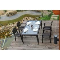 Dark Brown Garden PE Rattan Chair & Table Set