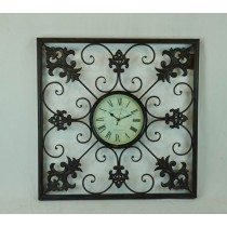 Dark Brown Hand Curved Decorate Metal Wall Clock