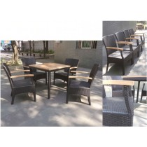 Dark Brown Modern PE Rattan Dinning Set
