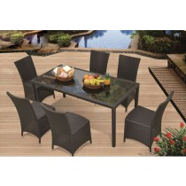 Dark Brown PE Rattan Modern Dinning Set