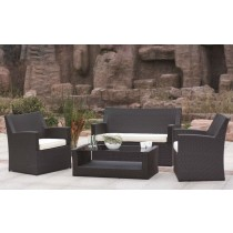 Dark Brown PE Rattan Outdoor Sofa Set