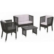 Dark Coffee Wicker Rattan Garden Full Sofa Set