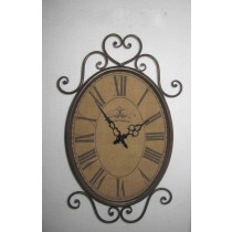 Dark Maroon Antique Curved Metal Wall Clock