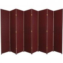 Dark Red 7 Feet - Tall Woven Fiber 8 Folding Panel