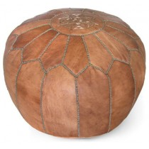Dark Tan Color Round Floor Pouf