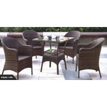 Dark Wicker Brown Garden Rattan Lounge Seating Chair and Table Set