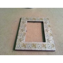 Decorate Hand Work Flowers Pattern Wood Photo Frame