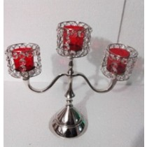 Decorative 3 Arm Red Glass Votive Candelabras
