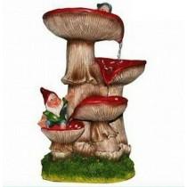 Decorative 4 Tired Red Mushroom Water Fountain