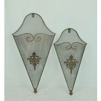 Decorative Antique Metal Wall Pocket (Set 2)