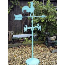 Decorative Aqua Blue Finish Metal Rooster Weathervanes