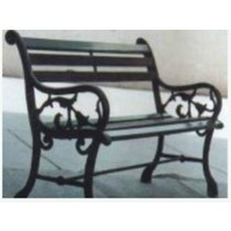 Decorative Black Garden Lawn Three Seater Bench