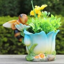 Polyresin 15.2cm Blue Flower Planter With Bee